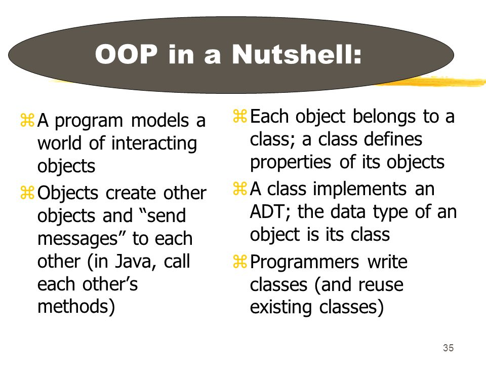 35 OOP in a Nutshell: zA program models a world of interacting objects zObjects create other objects and send messages to each other (in Java, call each others methods) z Each object belongs to a class; a class defines properties of its objects z A class implements an ADT; the data type of an object is its class z Programmers write classes (and reuse existing classes)