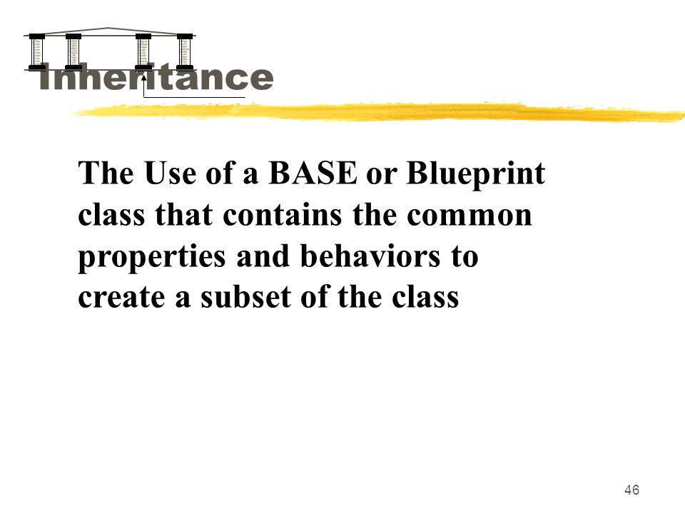46 Inheritance The Use of a BASE or Blueprint class that contains the common properties and behaviors to create a subset of the class
