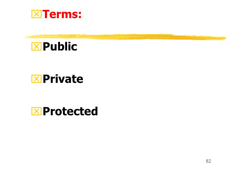 62 xTerms: xPublic xPrivate xProtected