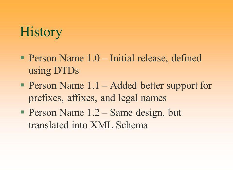History §Person Name 1.0 – Initial release, defined using DTDs §Person Name 1.1 – Added better support for prefixes, affixes, and legal names §Person Name 1.2 – Same design, but translated into XML Schema