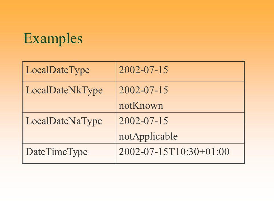 Examples LocalDateType2002-07-15 LocalDateNkType2002-07-15 notKnown LocalDateNaType2002-07-15 notApplicable DateTimeType2002-07-15T10:30+01:00