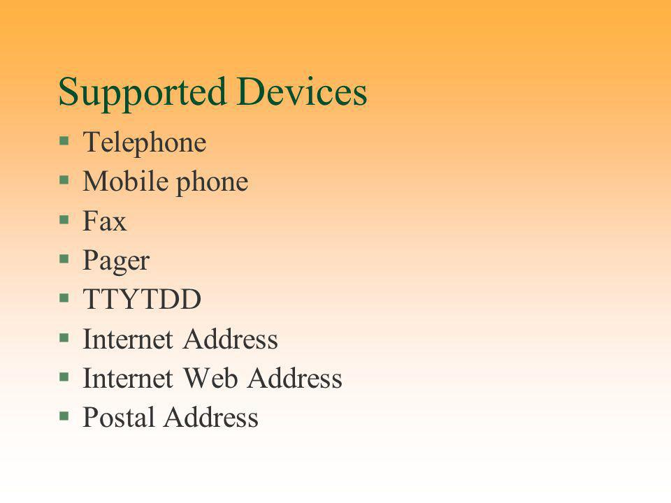 Supported Devices §Telephone §Mobile phone §Fax §Pager §TTYTDD §Internet Address §Internet Web Address §Postal Address
