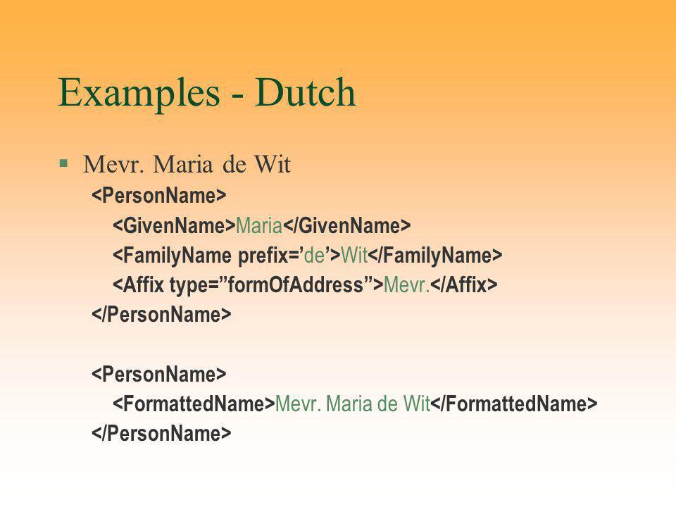 Examples - Dutch §Mevr. Maria de Wit Maria Wit Mevr. Mevr. Maria de Wit