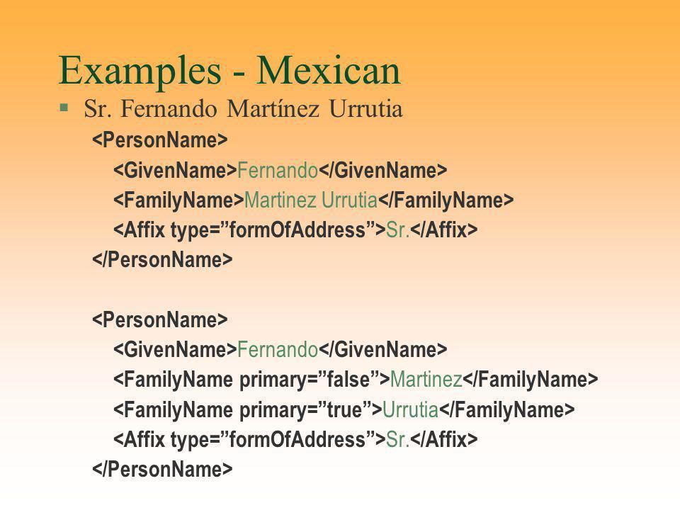 Examples - Mexican §Sr. Fernando Martínez Urrutia Fernando Martinez Urrutia Sr. Fernando Martinez Urrutia Sr.