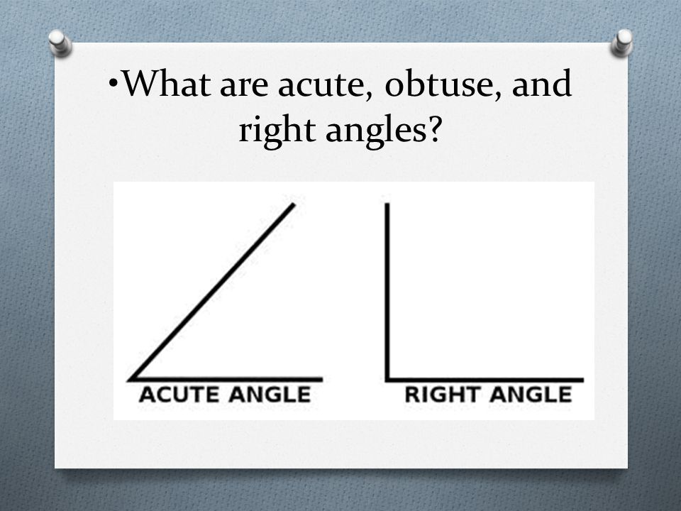 What are acute, obtuse, and right angles?