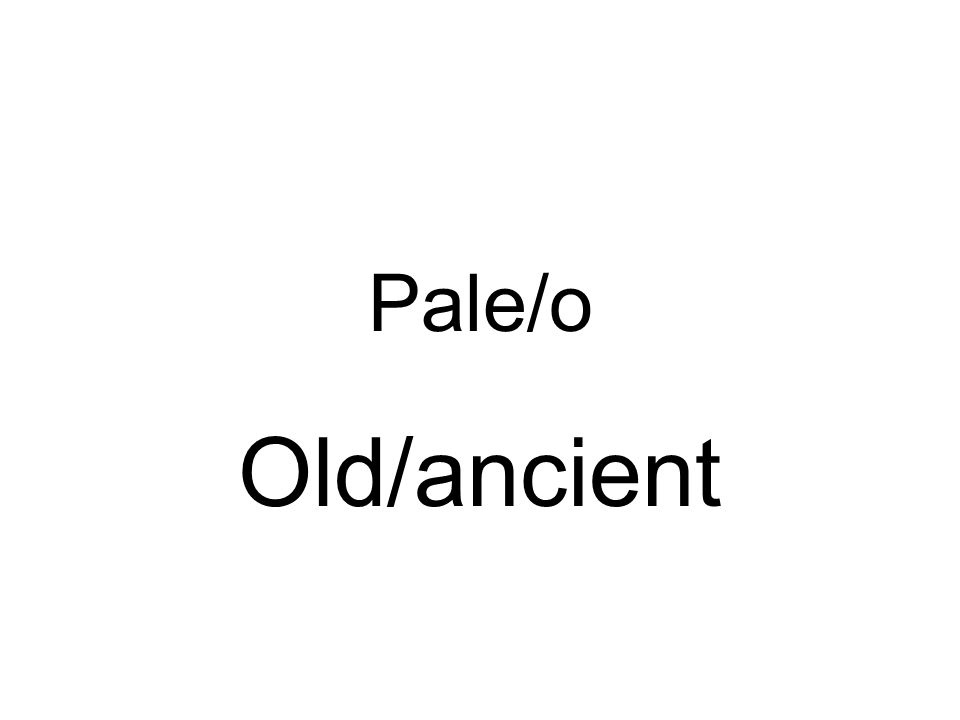 Pale/o Old/ancient