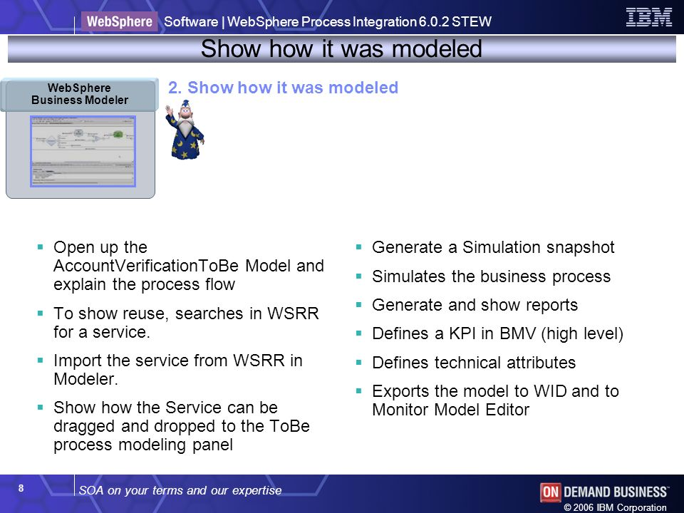 SOA on your terms and our expertise Software | WebSphere Process Integration 6.0.2 STEW © 2006 IBM Corporation 8 Show how it was modeled WebSphere Business Modeler 2.