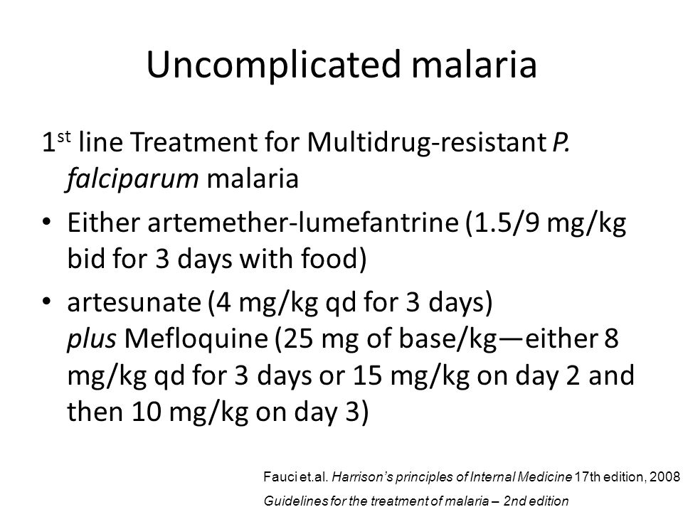 Uncomplicated malaria 1 st line Treatment for Multidrug-resistant P.