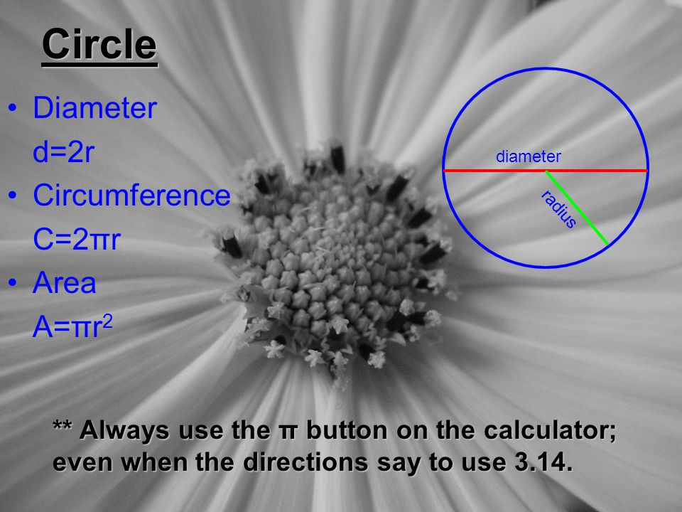 Circle Diameter d=2r Circumference C=2πr Area A=πr 2 diameter r a d i u s ** Always use the π button on the calculator; even when the directions say to use 3.14.