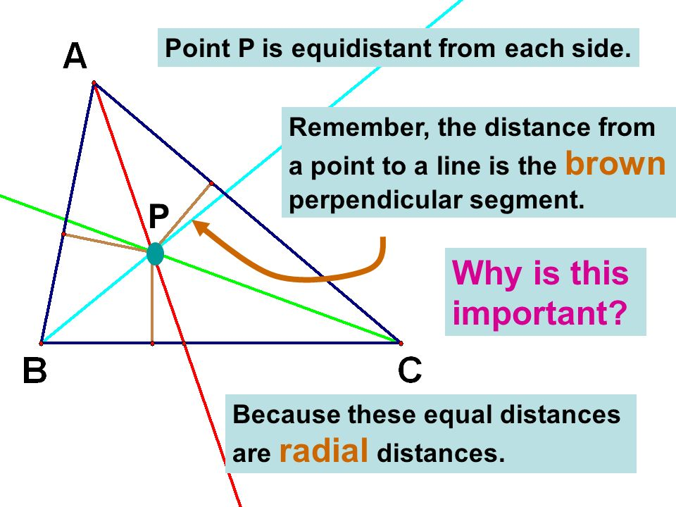 P Point P is equidistant from each side. Remember, the distance from a point to a line is the brown perpendicular segment. Why is this important? Beca