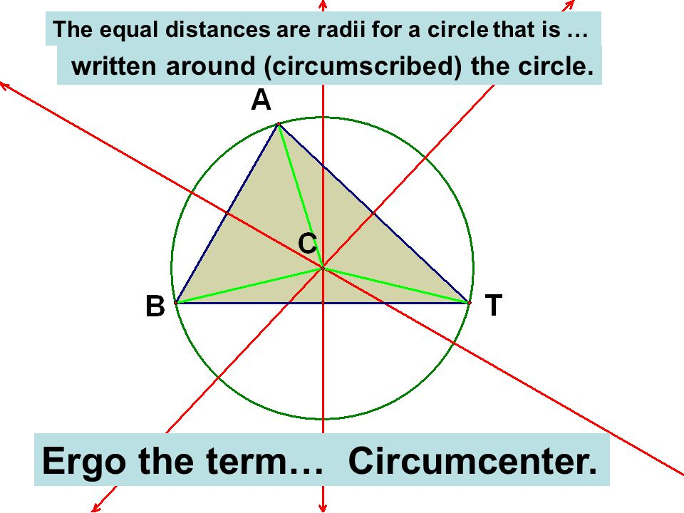 The equal distances are radii for a circle that is … written around (circumscribed) the circle. Ergo the term… Circumcenter.