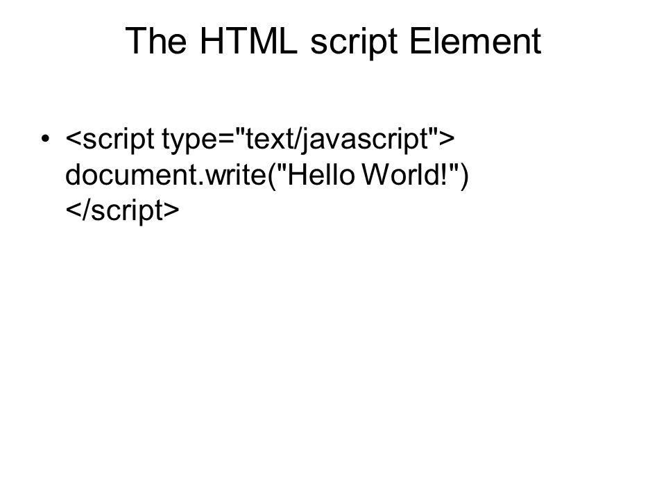 The HTML script Element document.write(