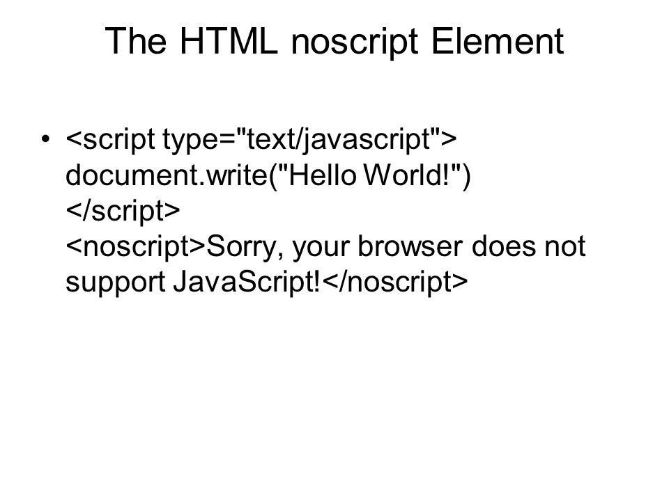 The HTML noscript Element document.write(