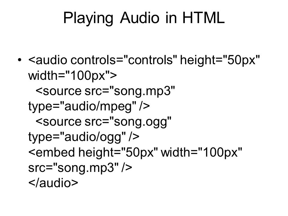 Playing Audio in HTML