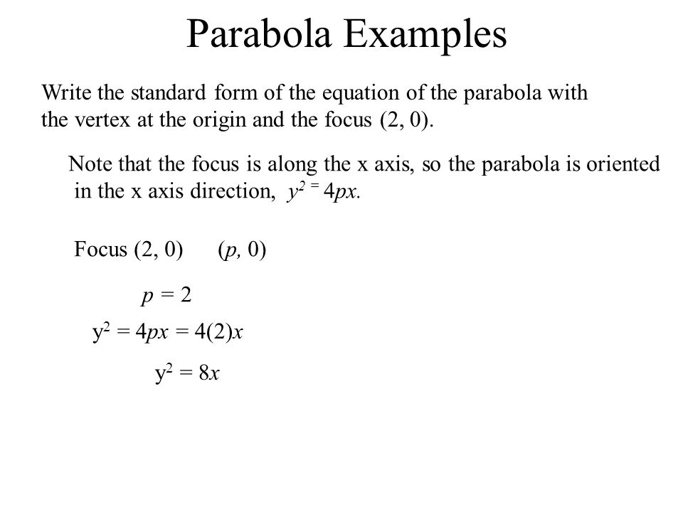 Parabola Examples Write the standard form of the equation of the parabola with the vertex at the origin and the focus (2, 0). Note that the focus is a