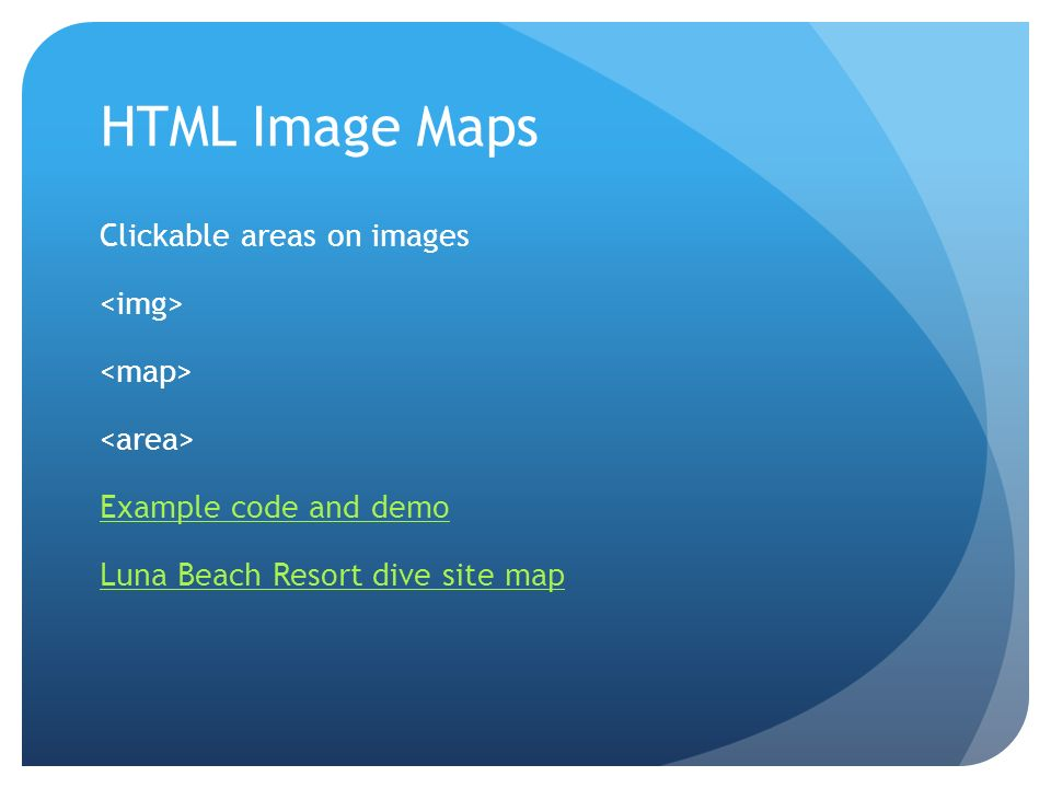 HTML Image Maps Clickable areas on images Example code and demo Luna Beach Resort dive site map