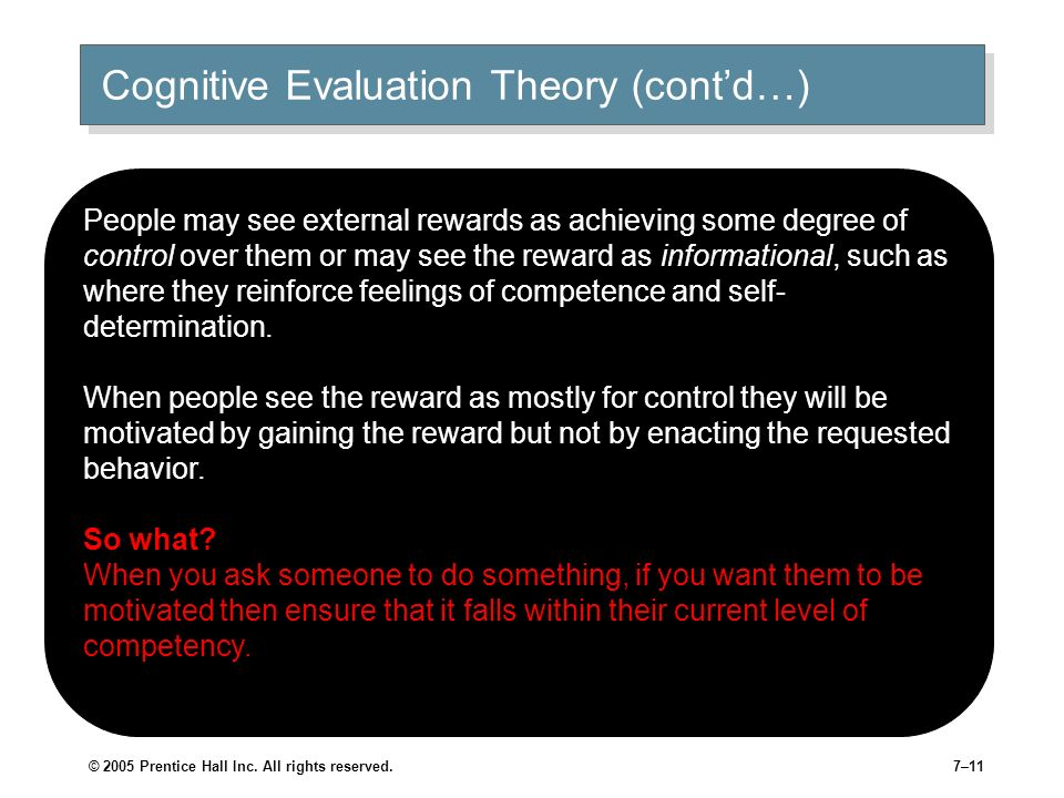 © 2005 Prentice Hall Inc. All rights reserved.6–10 Cognitive Evaluation Theory Description When looking at task, we evaluate it in terms of how well i