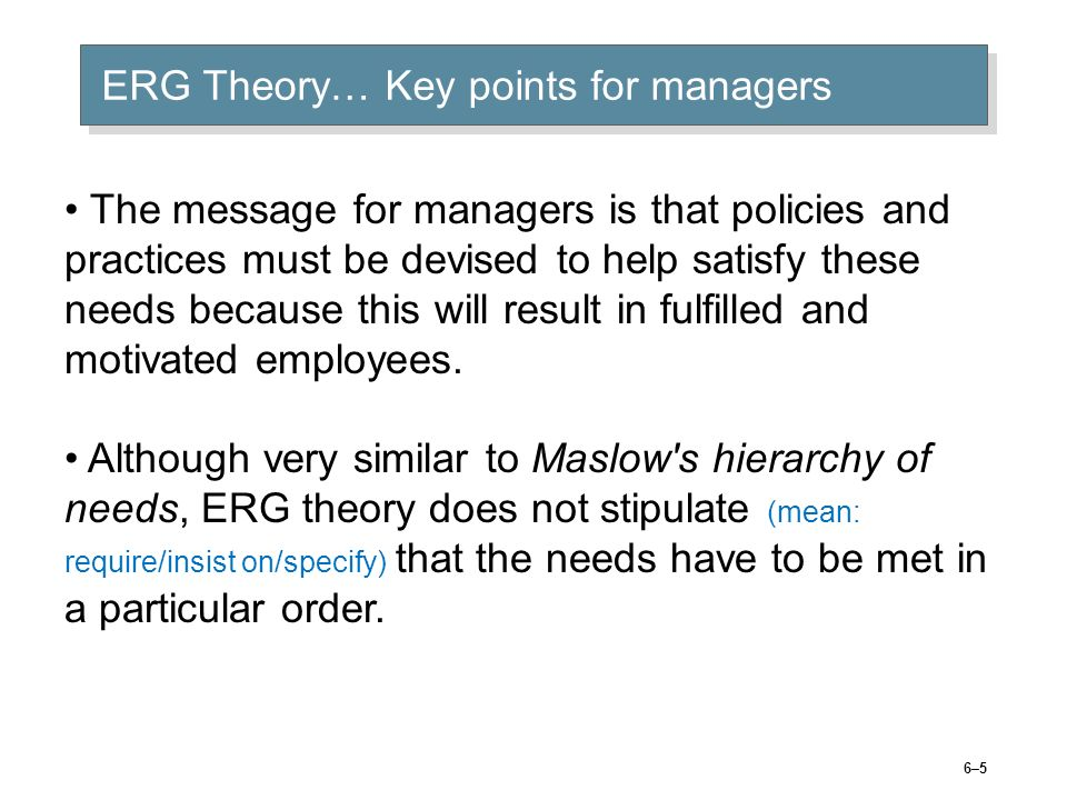 ERG Theory defined… Source: Dictionary of Human Resource Management, 2001, p112-112 © 2005 Prentice Hall Inc. All rights reserved.6–4 Chris Alderfers