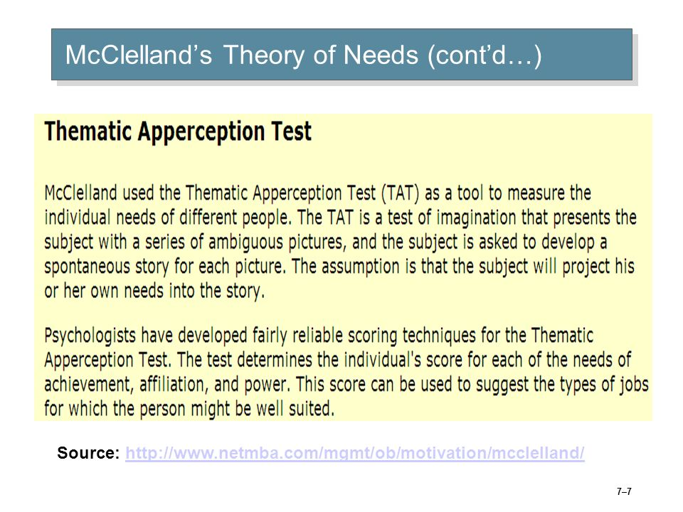 © 2005 Prentice Hall Inc. All rights reserved.6–6 David McClellands Theory of Needs nAch nPow nAff Need for Achievement The drive to excel, to achieve