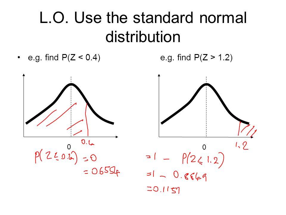 e.g. find P(Z 1.2) 0 0