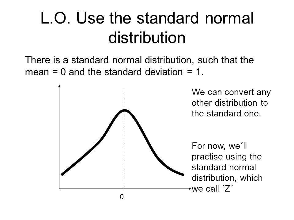 L.O. Use the standard normal distribution There is a standard normal distribution, such that the mean = 0 and the standard deviation = 1. 0 We can con
