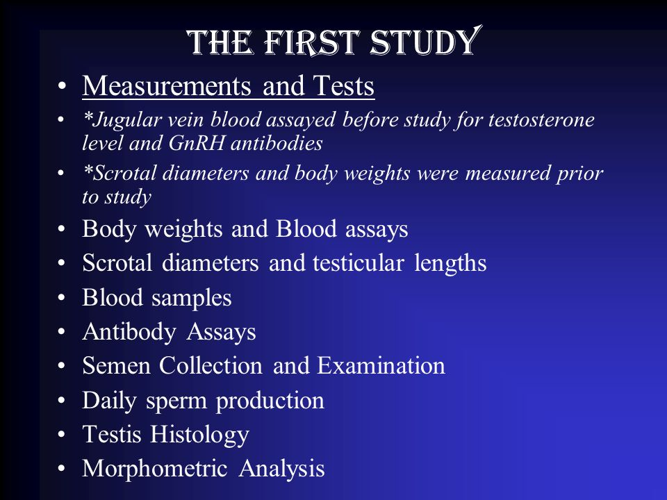 The first study Measurements and Tests *Jugular vein blood assayed before study for testosterone level and GnRH antibodies *Scrotal diameters and body