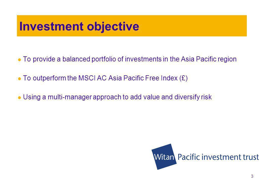 23 Portfolio return 31.05.2005 to 31.01.2010 (£) total return annualised Combined portfolio + 11.1% MSCI Asia Pacific Index + 9.3% Aberdeen + 12.8% Nomura + 9.3% Source: WM 31/05/2005– 31/01/2010, TR Annualised GBP
