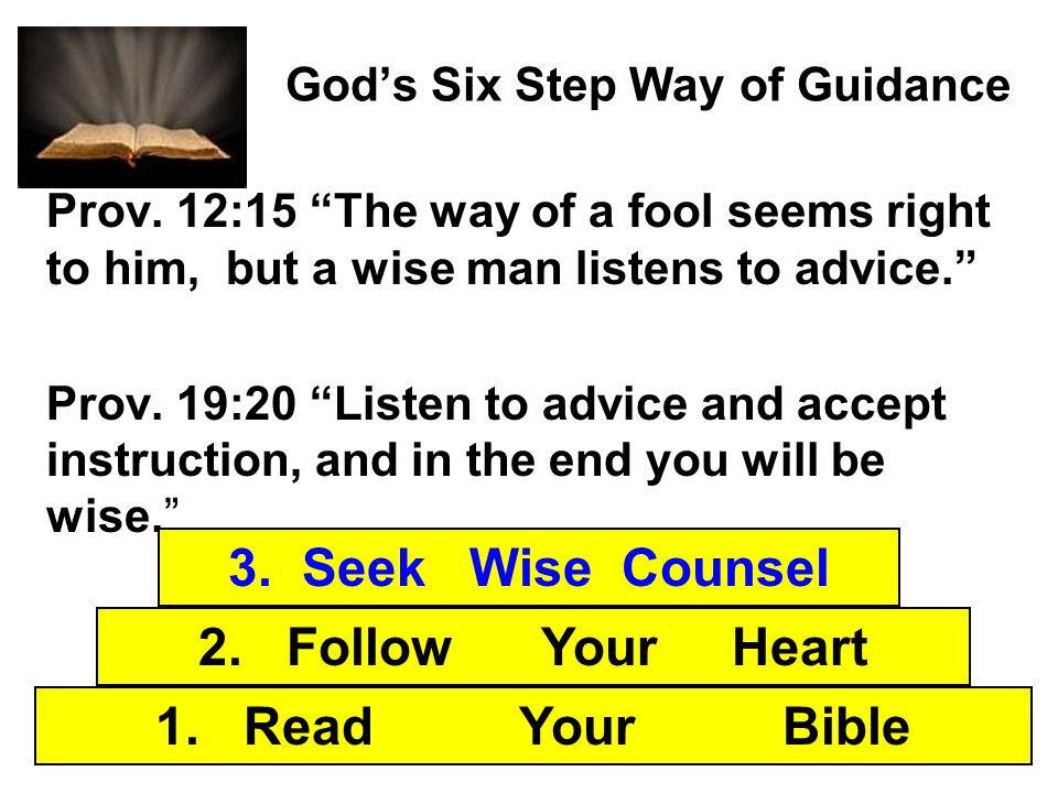 Gods Six Step Way of Guidance Prov. 12:15 The way of a fool seems right to him, but a wise man listens to advice. Prov. 19:20 Listen to advice and acc