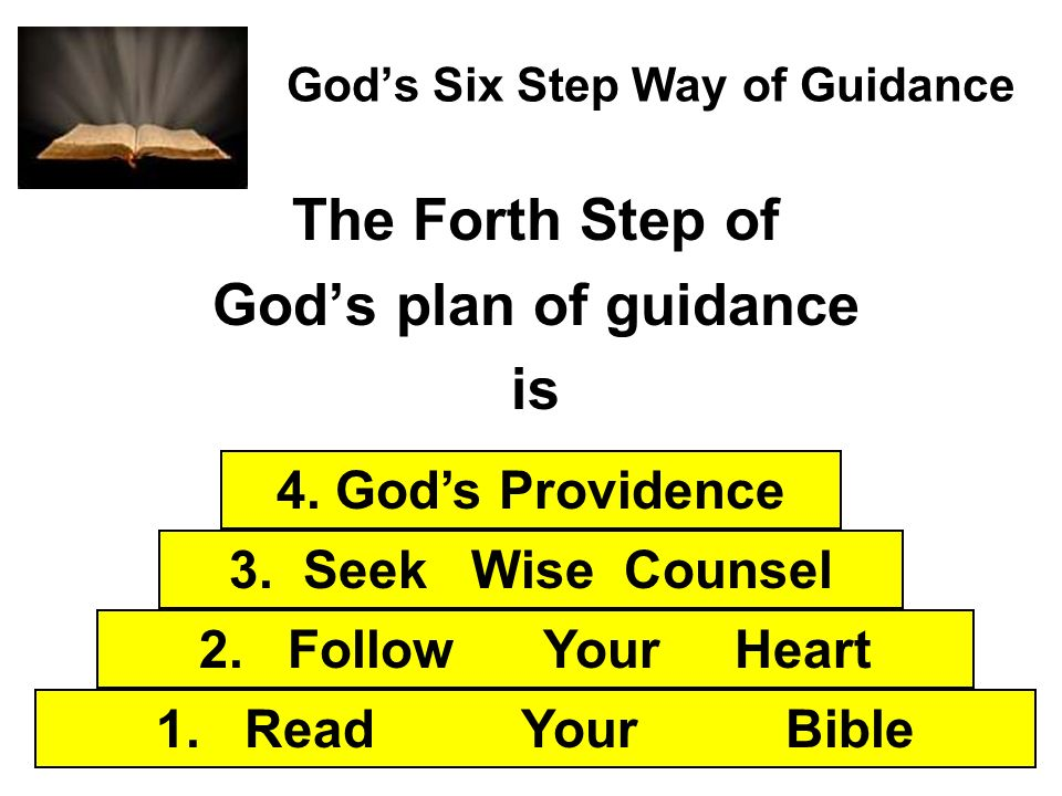 Gods Six Step Way of Guidance The Forth Step of Gods plan of guidance is 1. Read Your Bible 2. Follow Your Heart 3. Seek Wise Counsel 4. Gods Providen