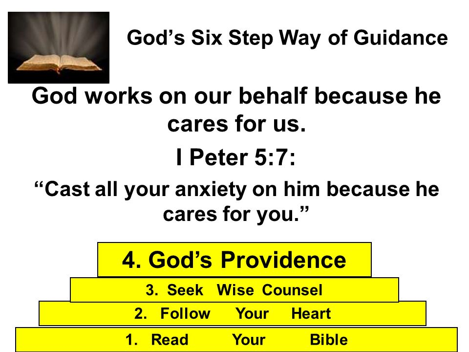 Gods Six Step Way of Guidance God works on our behalf because he cares for us. I Peter 5:7: Cast all your anxiety on him because he cares for you. 1.