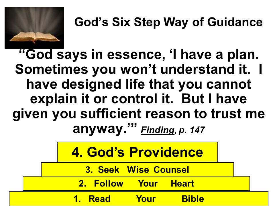 Gods Six Step Way of Guidance God says in essence, I have a plan. Sometimes you wont understand it. I have designed life that you cannot explain it or