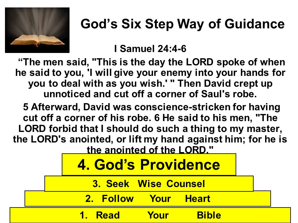 Gods Six Step Way of Guidance I Samuel 24:4-6 The men said,