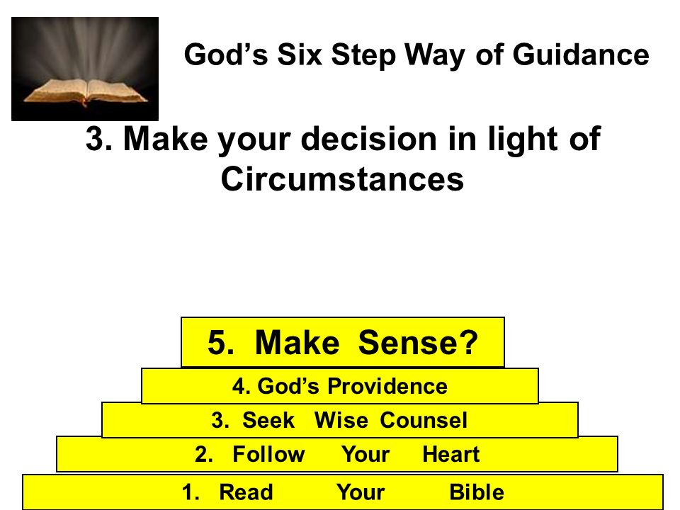 Gods Six Step Way of Guidance 3. Make your decision in light of Circumstances 1. Read Your Bible 2. Follow Your Heart 3. Seek Wise Counsel 4. Gods Pro