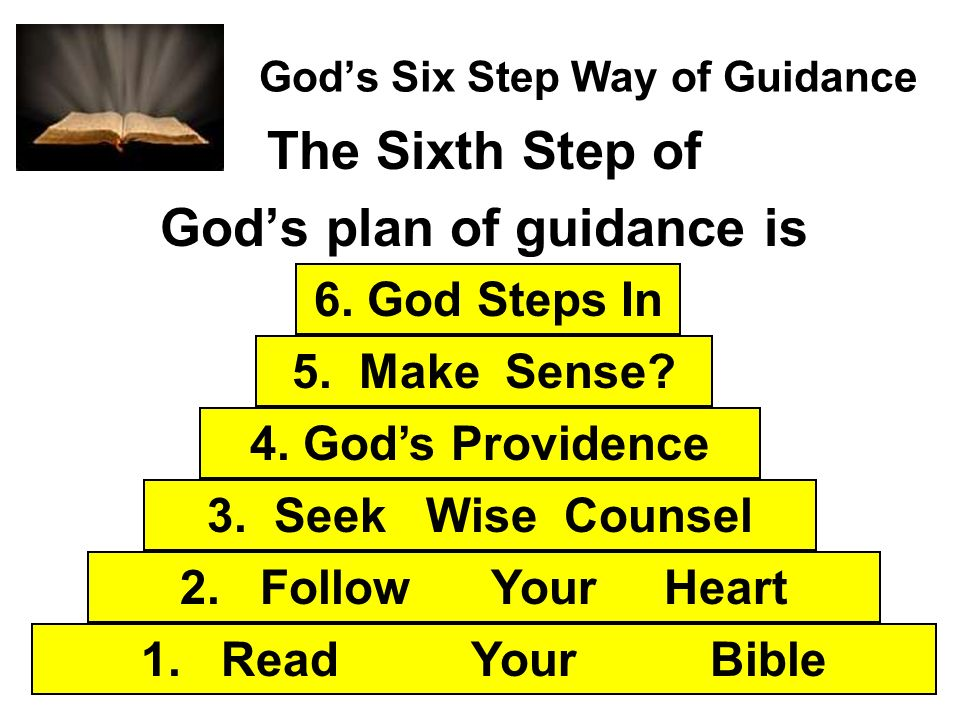 Gods Six Step Way of Guidance The Sixth Step of Gods plan of guidance is 1. Read Your Bible 2. Follow Your Heart 3. Seek Wise Counsel 4. Gods Providen