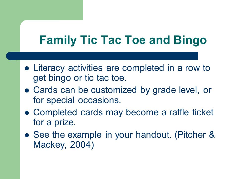 Family Tic Tac Toe and Bingo Literacy activities are completed in a row to get bingo or tic tac toe.