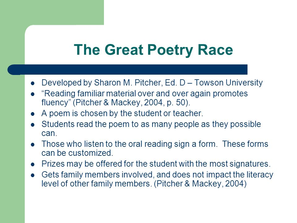 The Great Poetry Race Developed by Sharon M. Pitcher, Ed.