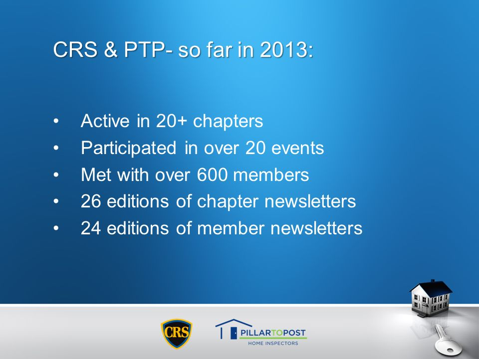 CRS & PTP- so far in 2013: Active in 20+ chapters Participated in over 20 events Met with over 600 members 26 editions of chapter newsletters 24 editi