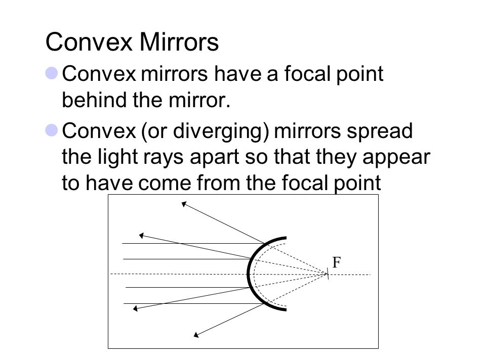Convex Mirrors Convex mirrors have a focal point behind the mirror. Convex (or diverging) mirrors spread the light rays apart so that they appear to h