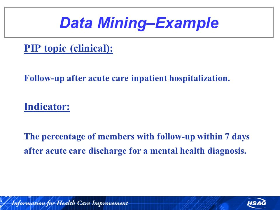 Data Mining–Example PIP topic (clinical): Follow-up after acute care inpatient hospitalization. Indicator: The percentage of members with follow-up wi