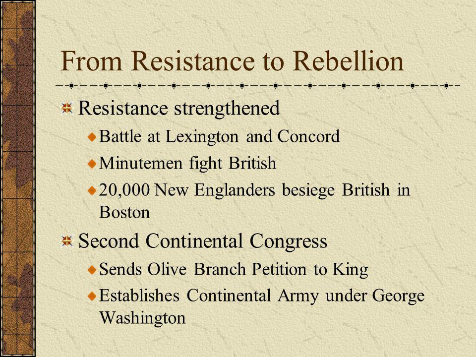 From Resistance to Rebellion Resistance strengthened Battle at Lexington and Concord Minutemen fight British 20,000 New Englanders besiege British in