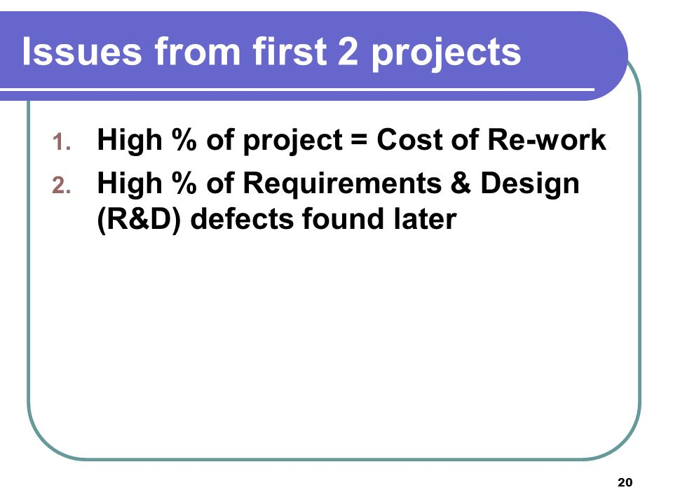 20 Issues from first 2 projects 1. High % of project = Cost of Re-work 2.