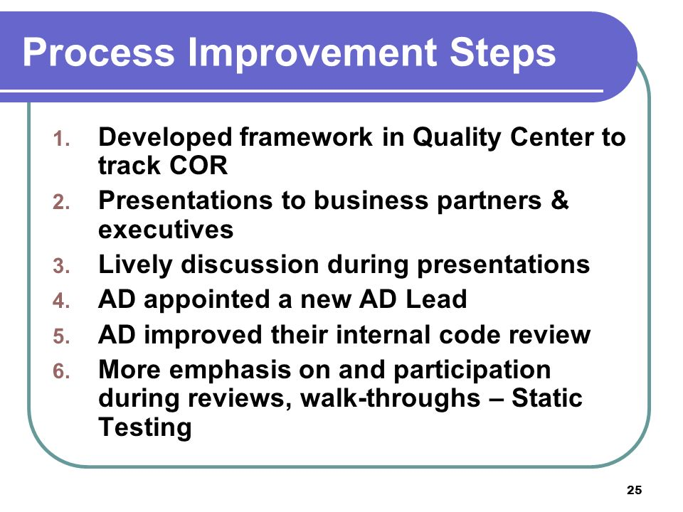 25 Process Improvement Steps 1. Developed framework in Quality Center to track COR 2.