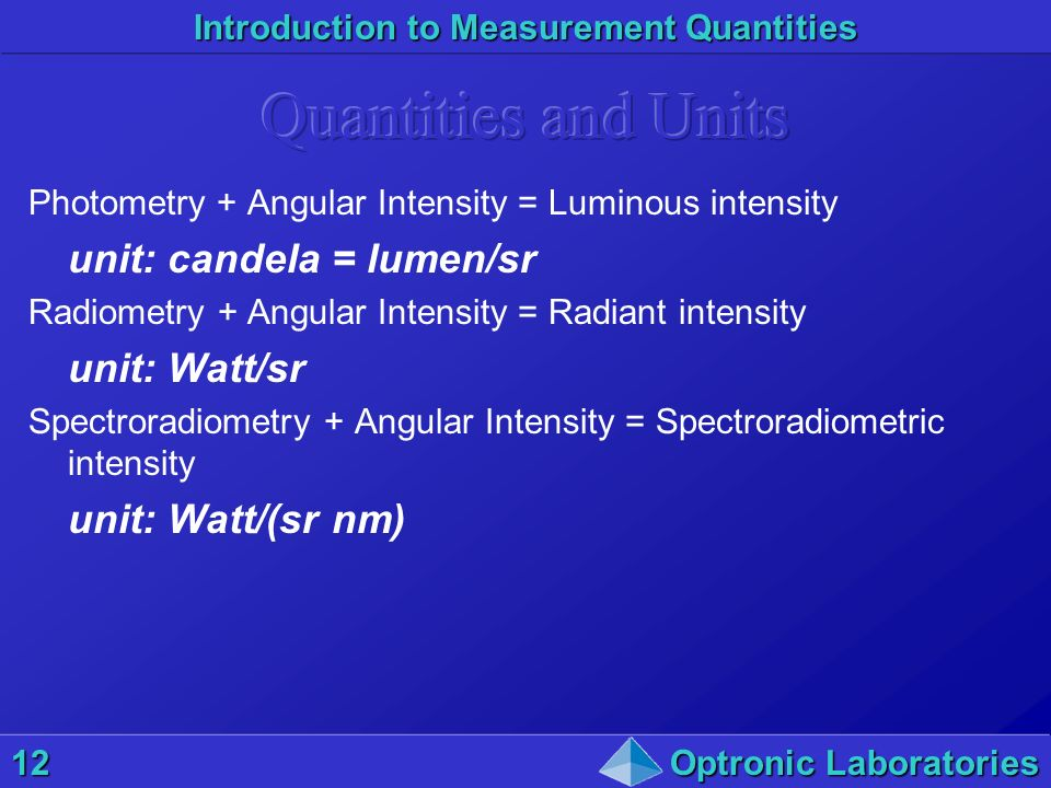 Introduction to Measurement Quantities 12Optronic Laboratories Photometry + Angular Intensity = Luminous intensity unit: candela = lumen/sr Radiometry