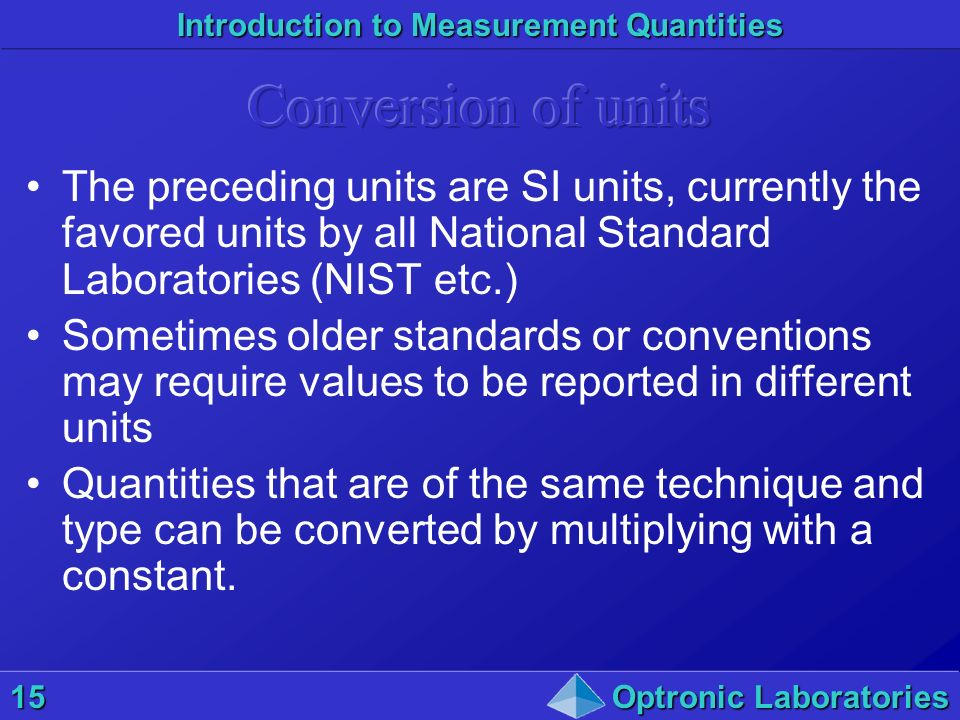 Introduction to Measurement Quantities 15Optronic Laboratories The preceding units are SI units, currently the favored units by all National Standard