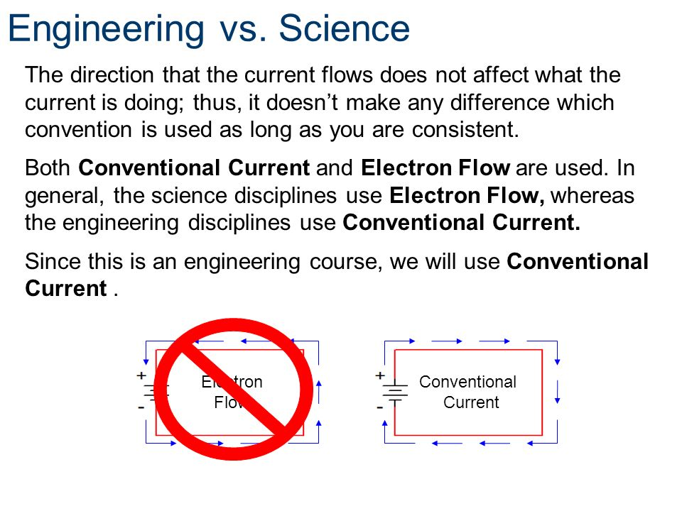 Engineering vs. Science The direction that the current flows does not affect what the current is doing; thus, it doesnt make any difference which conv
