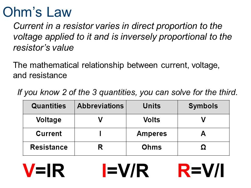 Ohms Law QuantitiesAbbreviationsUnitsSymbols VoltageVVoltsV CurrentIAmperesA ResistanceROhmsΩ If you know 2 of the 3 quantities, you can solve for the