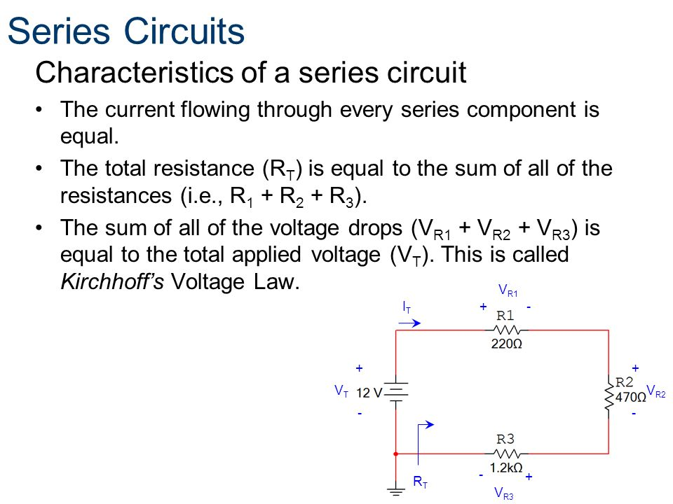 Characteristics of a series circuit The current flowing through every series component is equal. The total resistance (R T ) is equal to the sum of al