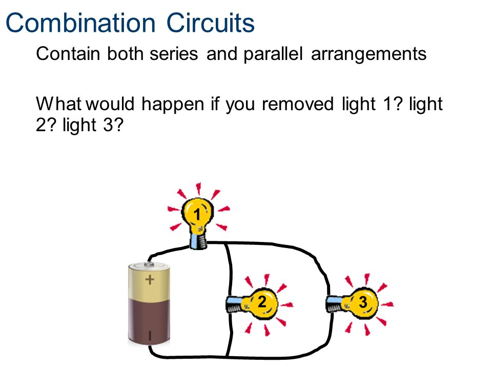 Combination Circuits Contain both series and parallel arrangements What would happen if you removed light 1? light 2? light 3? 1 2 3