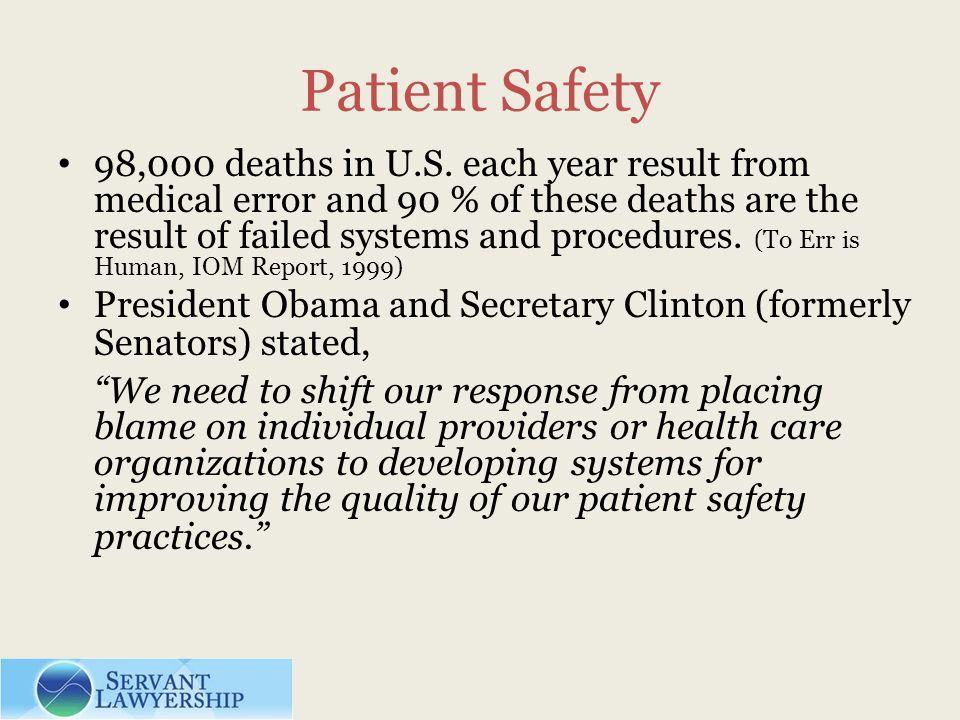 Patient Safety 98,000 deaths in U.S.