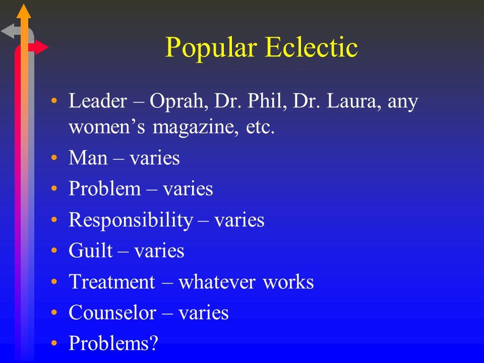 Popular Eclectic Leader – Oprah, Dr. Phil, Dr. Laura, any womens magazine, etc. Man – varies Problem – varies Responsibility – varies Guilt – varies T